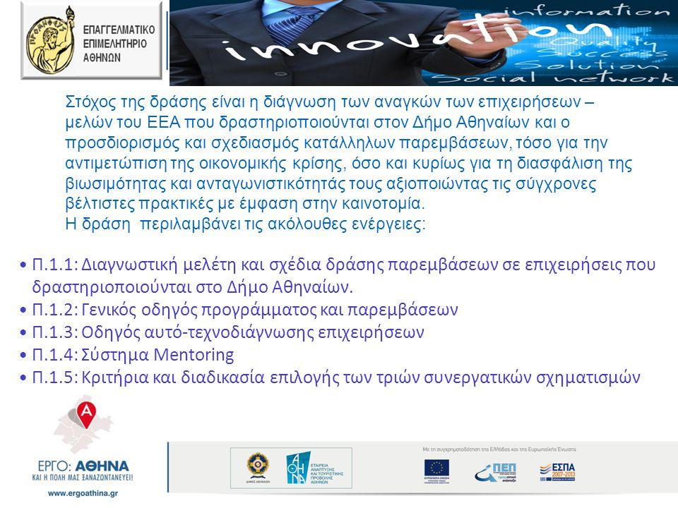 Στόχος της δράσης είναι η διάγνωση των αναγκών των επιχειρήσεων – μελών του ΕΕΑ που δραστηριοποιούνται στον Δήμο Αθηναίων και ο προσδιορισμός και σχεδ
