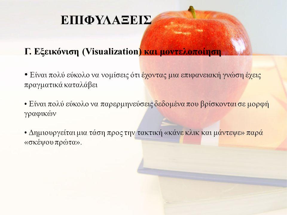Γ. Εξεικόνιση (Visualization) και μοντελοποίηση • Είναι πολύ εύκολο να νομίσεις ότι έχοντας μια επιφανειακή γνώση έχεις πραγματικά καταλάβει • Είναι π