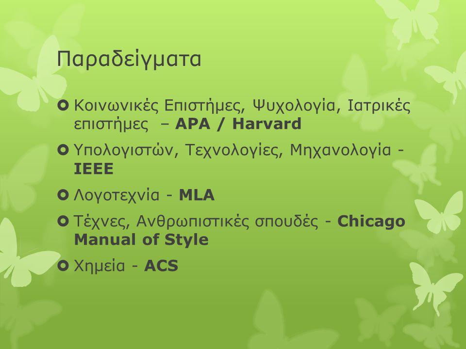 Παραδείγματα  Κοινωνικές Επιστήμες, Ψυχολογία, Ιατρικές επιστήμες – APA / Harvard  Υπολογιστών, Τεχνολογίες, Μηχανολογία - IEEE  Λογοτεχνία - MLA  Τέχνες, Ανθρωπιστικές σπουδές - Chicago Manual of Style  Χημεία - ACS