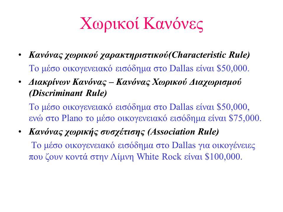Χωρικοί Κανόνες •Κανόνας χωρικού χαρακτηριστικού(Characteristic Rule) Το μέσο οικογενειακό εισόδημα στο Dallas είναι $50,000.