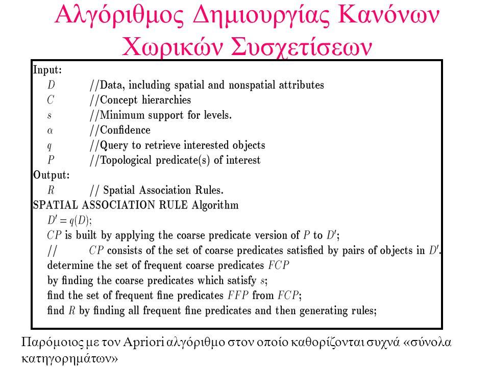 Αλγόριθμος Δημιουργίας Κανόνων Χωρικών Συσχετίσεων Παρόμοιος με τον Apriori αλγόριθμο στον οποίο καθορίζονται συχνά «σύνολα κατηγορημάτων»
