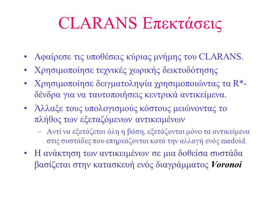 CLARANS Επεκτάσεις •Αφαίρεσε τις υποθέσεις κύριας μνήμης του CLARANS.