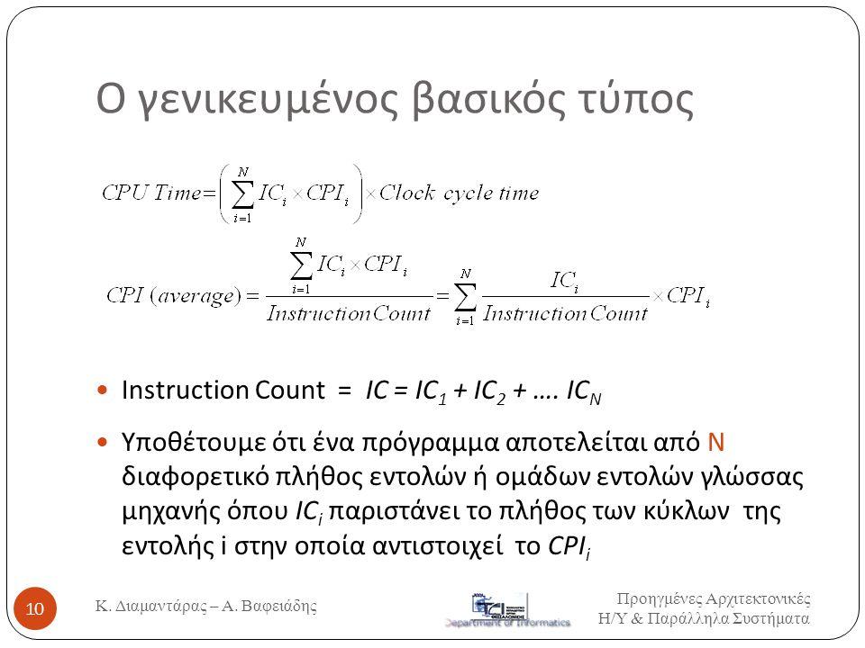 Ο γενικευμένος βασικός τύπος  Instruction Count = IC = IC 1 + IC 2 + …. IC N  Υποθέτουμε ότι ένα πρόγραμμα αποτελείται από Ν διαφορετικό πλήθος εντο