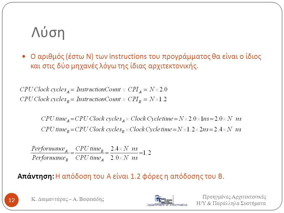Λύση  Ο αριθμός (έστω N) των instructions του προγράμματος θα είναι ο ίδιος και στις δύο μηχανές λόγω της ίδιας αρχιτεκτονικής. Απάντηση: Η απόδοση τ