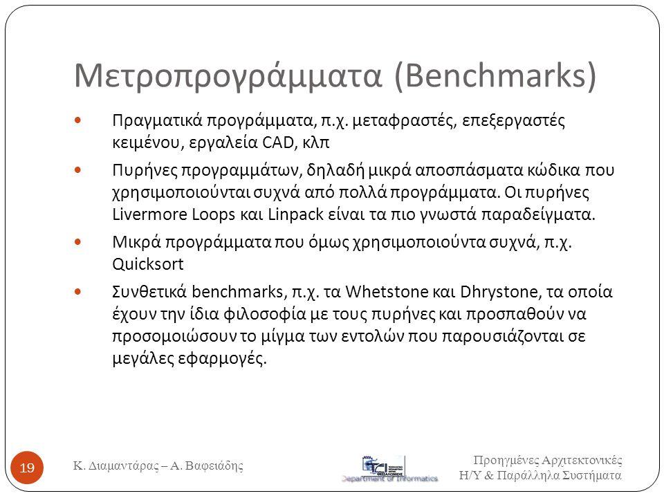 Μετροπρογράμματα (Benchmarks)  Πραγματικά προγράμματα, π.χ. μεταφραστές, επεξεργαστές κειμένου, εργαλεία CAD, κλπ  Πυρήνες προγραμμάτων, δηλαδή μικρ