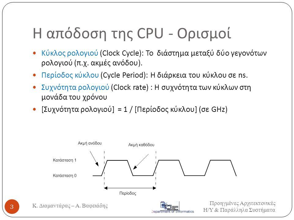 Η απόδοση της CPU - Ορισμοί  Κύκλος ρολογιού (Clock Cycle): Το διάστημα μεταξύ δύο γεγονότων ρολογιού (π.χ. ακμές ανόδου).  Περίοδος κύκλου (Cycle P