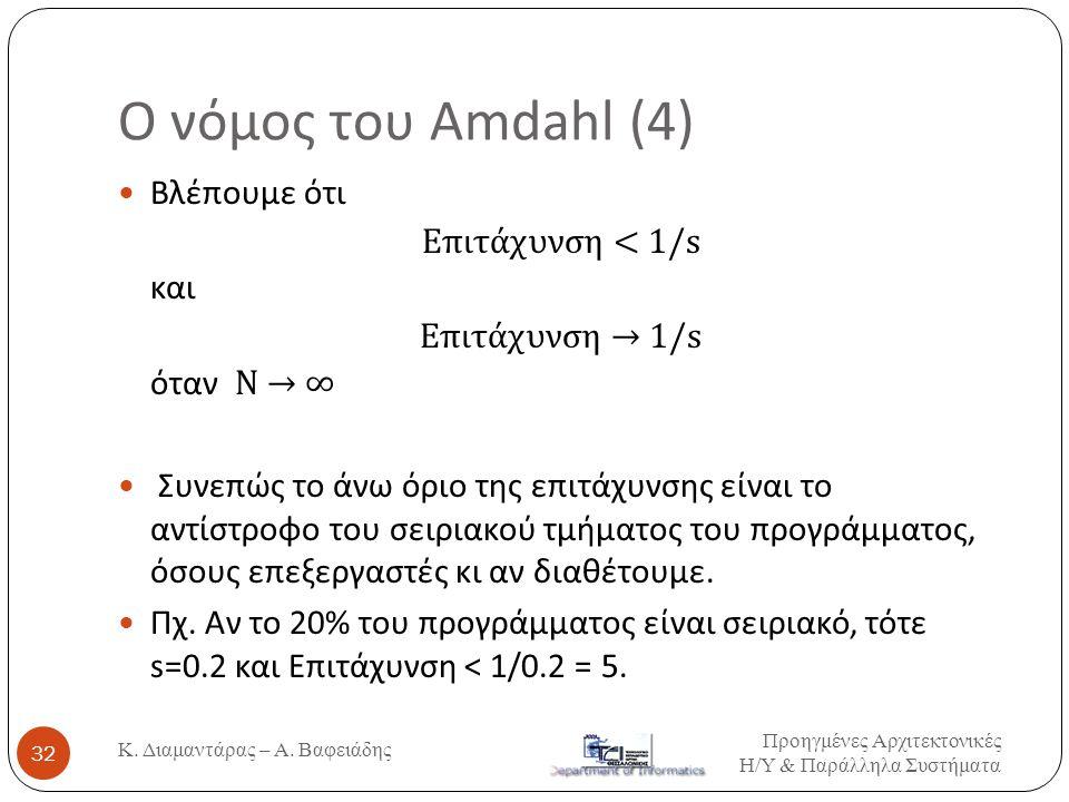 Ο νόμος του Amdahl (4)  Βλέπουμε ότι Επιτάχυνση < 1/s και Επιτάχυνση → 1/s όταν Ν → ∞  Συνεπώς το άνω όριο της επιτάχυνσης είναι το αντίστροφο του σ
