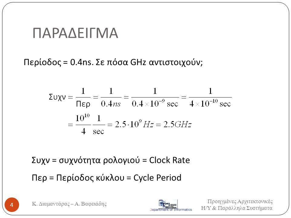 ΠΑΡΑΔΕΙΓΜΑ Περίοδος = 0.4ns. Σε πόσα GΗz αντιστοιχούν; Συχν = συχνότητα ρολογιού = Clock Rate Περ = Περίοδος κύκλου = Cycle Period 4 Κ. Διαμαντάρας –