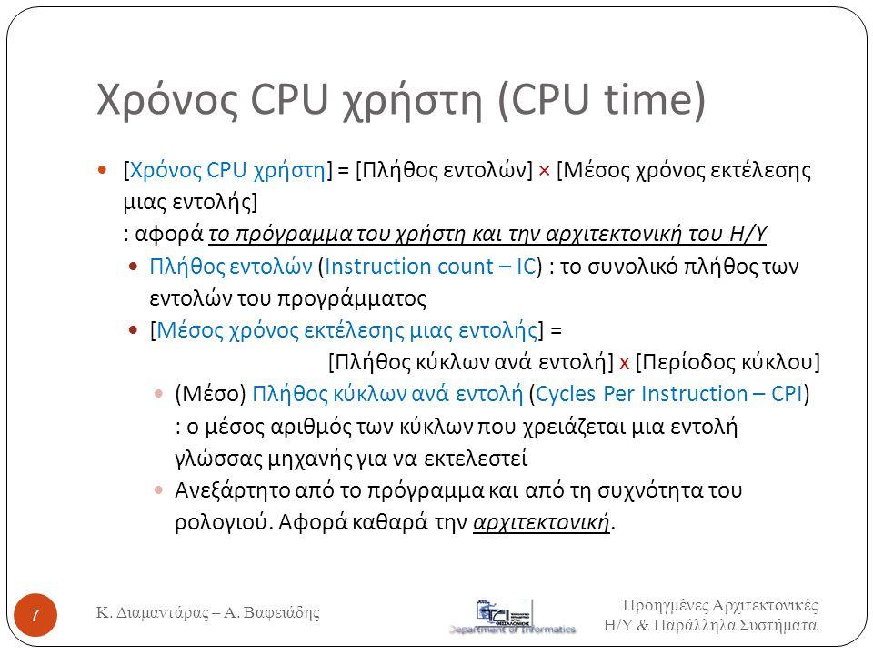 Χρόνος CPU χρήστη (CPU time)  [Χρόνος CPU χρήστη] = [Πλήθος εντολών] × [Μέσος χρόνος εκτέλεσης μιας εντολής] : αφορά το πρόγραμμα του χρήστη και την