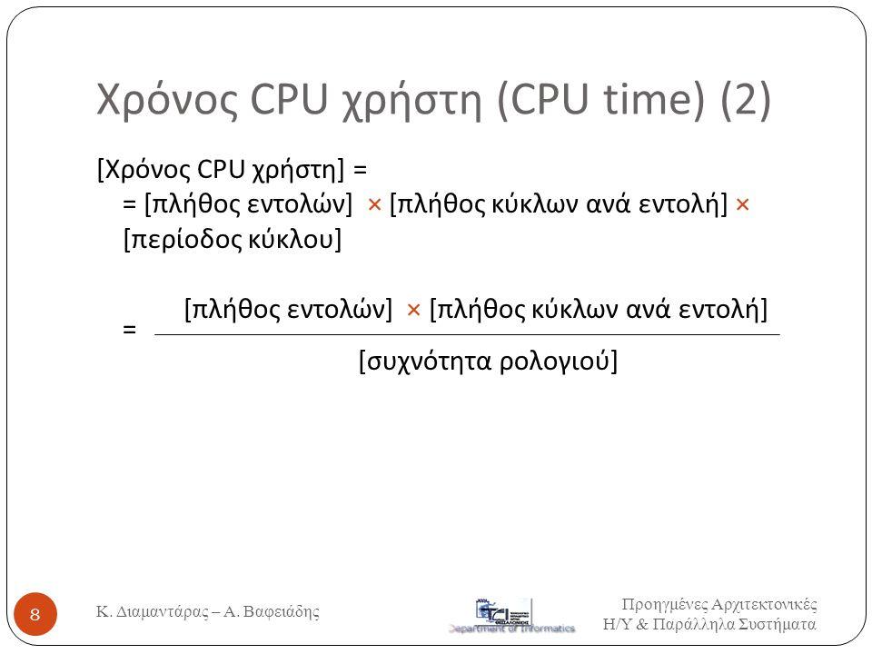 Χρόνος CPU χρήστη (CPU time) (2) Κ. Διαμαντάρας – Α. Βαφειάδης 8 [Χρόνος CPU χρήστη] = = [πλήθος εντολών] × [πλήθος κύκλων ανά εντολή] × [περίοδος κύκ