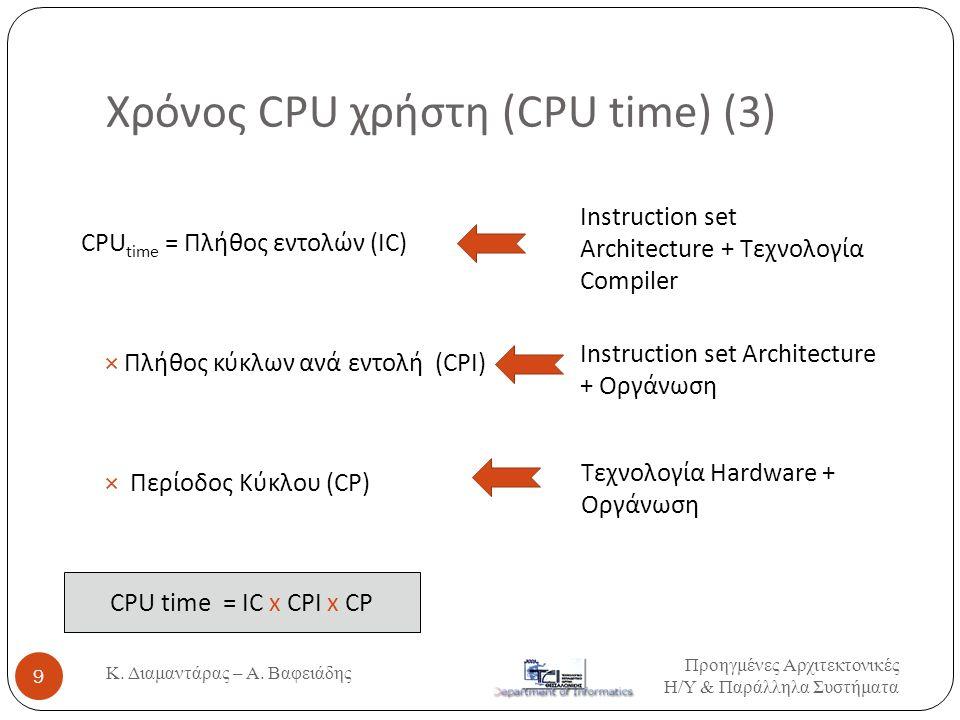 Χρόνος CPU χρήστη (CPU time) (3) CPU time = Πλήθος εντολών (IC) × Πλήθος κύκλων ανά εντολή (CPI) × Περίοδος Κύκλου (CP) CPU time = IC x CPI x CP Instr
