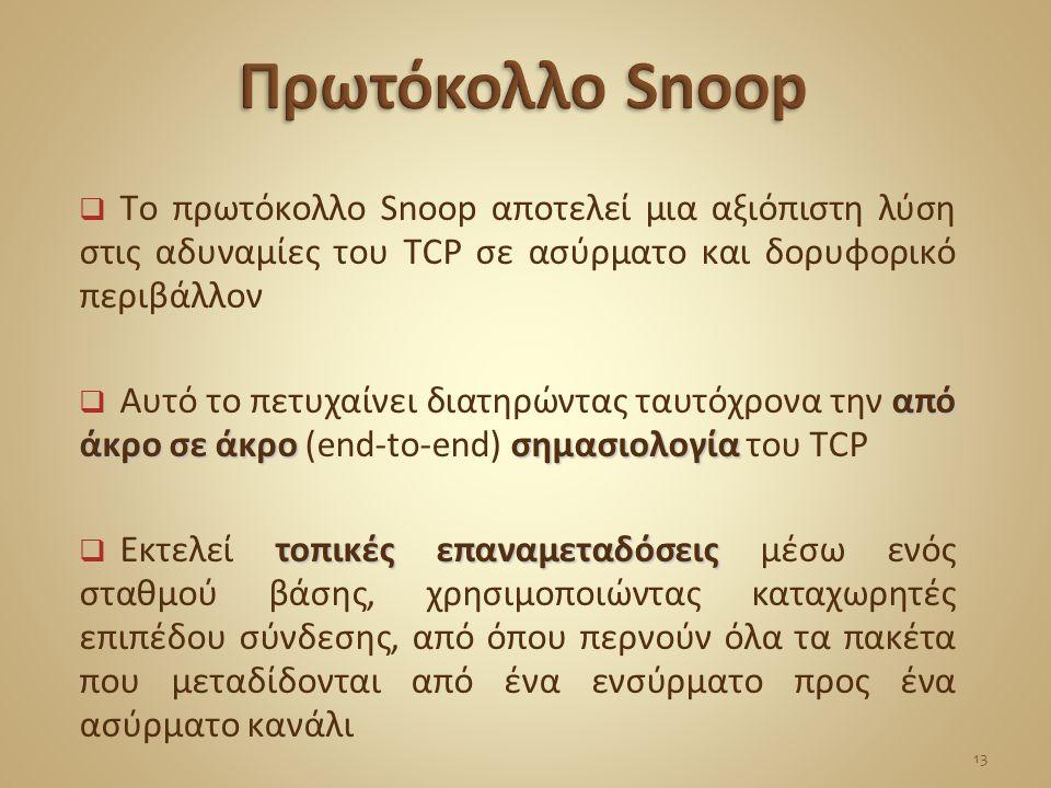  Το πρωτόκολλο Snoop αποτελεί μια αξιόπιστη λύση στις αδυναμίες του TCP σε ασύρματο και δορυφορικό περιβάλλον από άκρο σε άκρο σημασιολογία  Αυτό το πετυχαίνει διατηρώντας ταυτόχρονα την από άκρο σε άκρο (end-to-end) σημασιολογία του TCP τοπικές επαναμεταδόσεις  Εκτελεί τοπικές επαναμεταδόσεις μέσω ενός σταθμού βάσης, χρησιμοποιώντας καταχωρητές επιπέδου σύνδεσης, από όπου περνούν όλα τα πακέτα που μεταδίδονται από ένα ενσύρματο προς ένα ασύρματο κανάλι 13