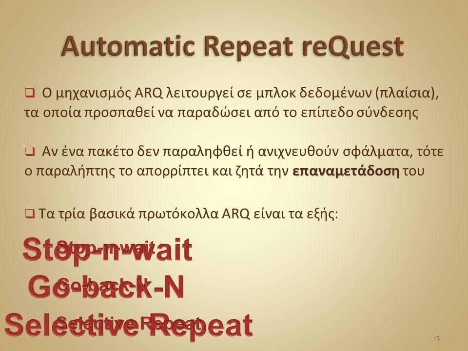  Ο μηχανισμός ARQ λειτουργεί σε μπλοκ δεδομένων (πλαίσια), τα οποία προσπαθεί να παραδώσει από το επίπεδο σύνδεσης επαναμετάδοση  Αν ένα πακέτο δεν παραληφθεί ή ανιχνευθούν σφάλματα, τότε ο παραλήπτης το απορρίπτει και ζητά την επαναμετάδοση του  Τα τρία βασικά πρωτόκολλα ARQ είναι τα εξής: 15