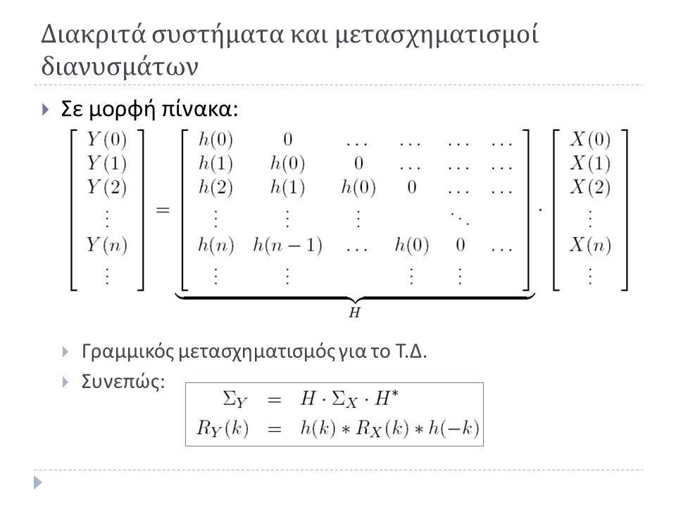 Διακριτά συστήματα και μετασχηματισμοί διανυσμάτων  Σε μορφή πίνακα :  Γραμμικός μετασχηματισμός για το Τ. Δ.  Συνεπώς :