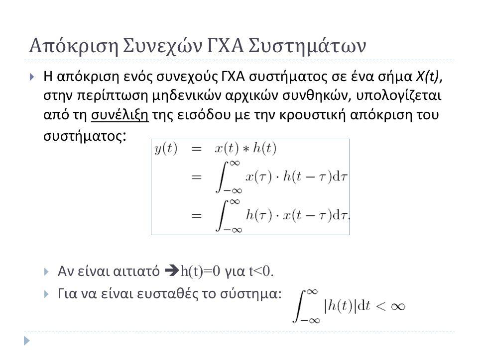 Απόκριση Συνεχών ΓΧΑ Συστημάτων  Η απόκριση ενός συνεχούς ΓΧΑ συστήματος σε ένα σήμα Χ (t), στην περίπτωση μηδενικών αρχικών συνθηκών, υπολογίζεται α