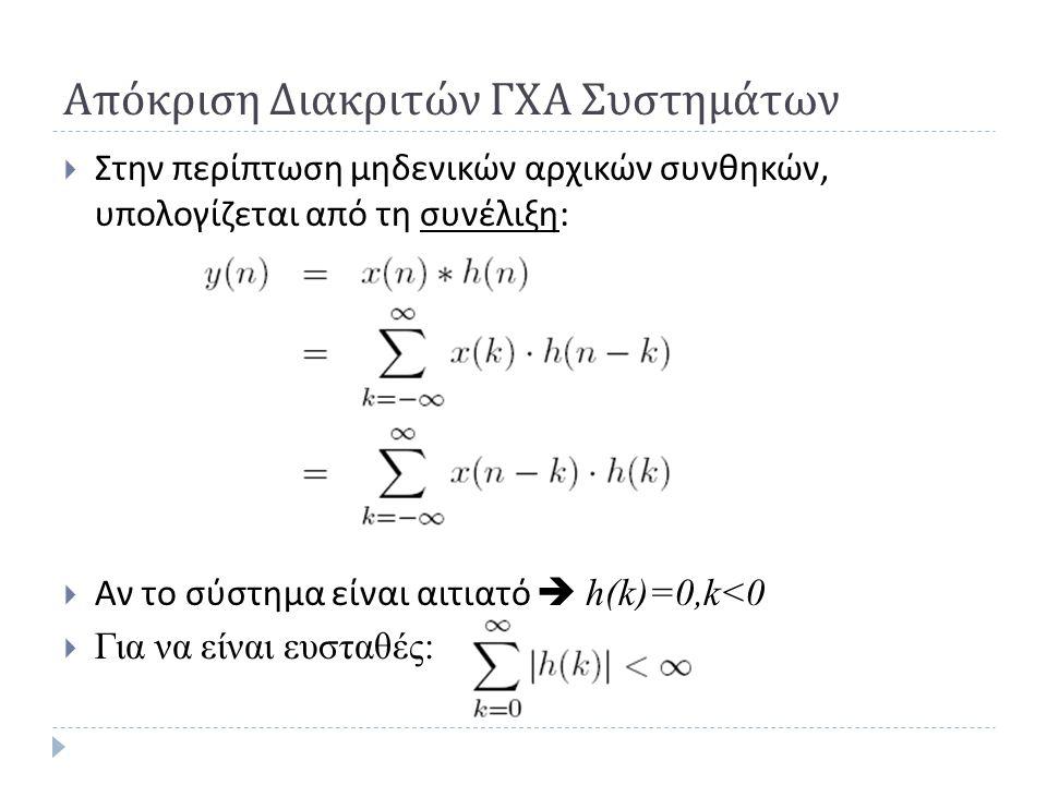 Απόκριση Διακριτών ΓΧΑ Συστημάτων  Στην περίπτωση μηδενικών αρχικών συνθηκών, υπολογίζεται από τη συνέλιξη :  Αν το σύστημα είναι αιτιατό  h(k)=0,k