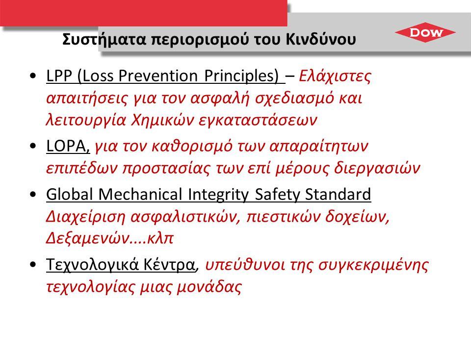 Συστήματα περιορισμού του Κινδύνου •LPP (Loss Prevention Principles) – Ελάχιστες απαιτήσεις για τον ασφαλή σχεδιασμό και λειτουργία Χημικών εγκαταστάσ