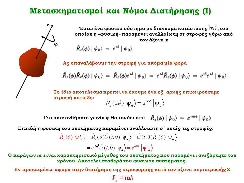 Μετασχηματισμοί και Νόμοι Διατήρησης (Ι) φ z Έστω ένα φυσικό σύστημα με διάνυσμα κατάστασης,του οποίου η «φυσική» παραμένει αναλλοίωτη σε στροφές γύρω