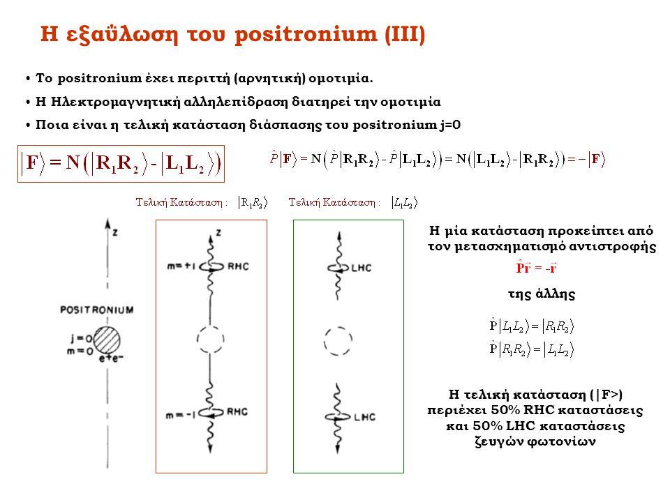 Η εξαΰλωση του positronium (ΙIΙ) • Το positronium έχει περιττή (αρνητική) ομοτιμία. • Η Ηλεκτρομαγνητική αλληλεπίδραση διατηρεί την ομοτιμία • Ποια εί