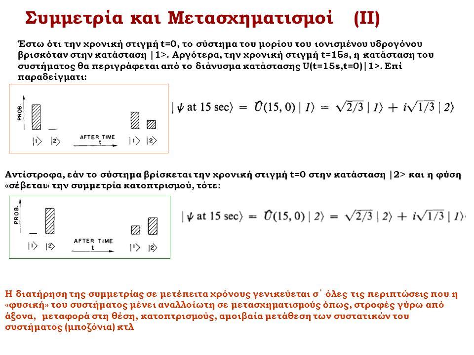Συμμετρία και Μετασχηματισμοί (ΙΙ) Έστω ότι την χρονική στιγμή t=0, το σύστημα του μορίου του ιονισμένου υδρογόνου βρισκόταν στην κατάσταση |1>. Αργότ