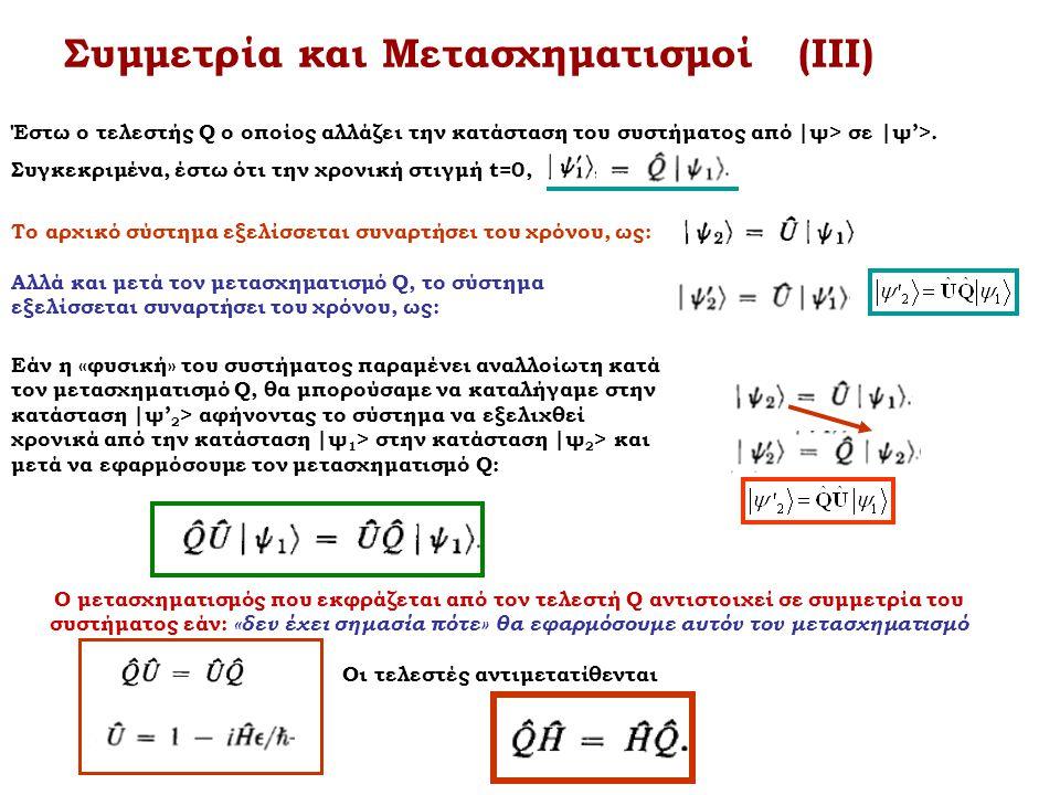 Συμμετρία και Μετασχηματισμοί (ΙΙΙ) Έστω ο τελεστής Q ο οποίος αλλάζει την κατάσταση του συστήματος από |ψ> σε |ψ'>. Συγκεκριμένα, έστω ότι την χρονικ