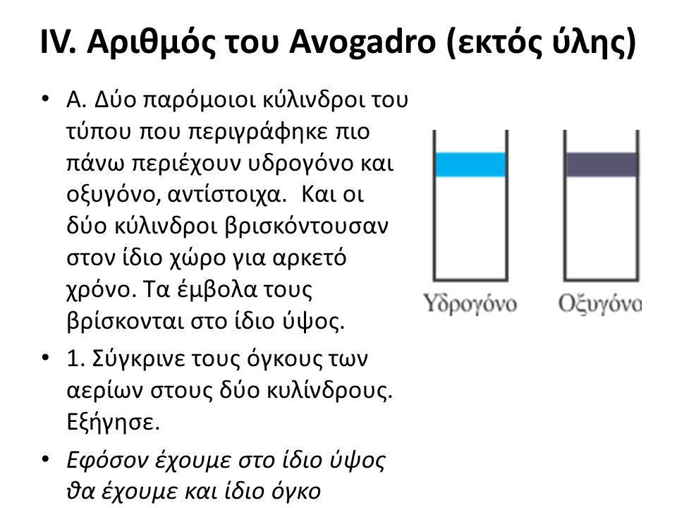 IV. Αριθμός του Avogadro (εκτός ύλης) • Α. Δύο παρόμοιοι κύλινδροι του τύπου που περιγράφηκε πιο πάνω περιέχουν υδρογόνο και οξυγόνο, αντίστοιχα. Και