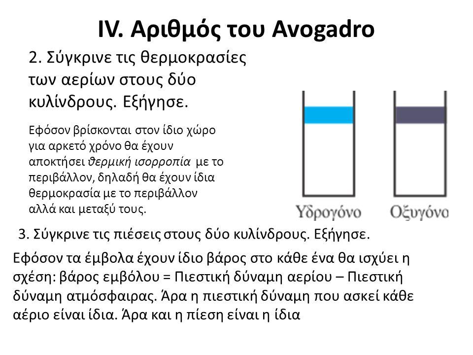 IV. Αριθμός του Avogadro 2. Σύγκρινε τις θερμοκρασίες των αερίων στους δύο κυλίνδρους. Εξήγησε. Εφόσον βρίσκονται στον ίδιο χώρο για αρκετό χρόνο θα έ