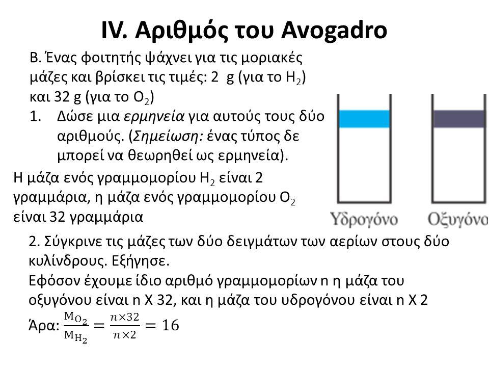 IV. Αριθμός του Avogadro Β. Ένας φοιτητής ψάχνει για τις μοριακές μάζες και βρίσκει τις τιμές: 2 g (για το Η 2 ) και 32 g (για το Ο 2 ) 1.Δώσε μια ερμ