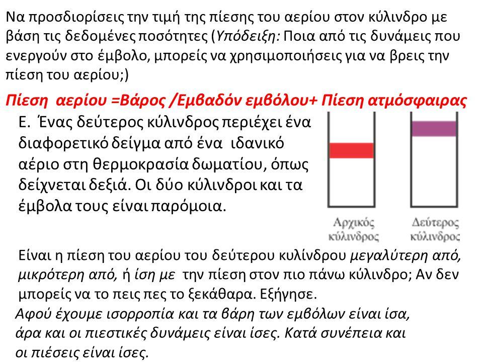 Να προσδιορίσεις την τιμή της πίεσης του αερίου στον κύλινδρο με βάση τις δεδομένες ποσότητες (Υπόδειξη: Ποια από τις δυνάμεις που ενεργούν στο έμβολο, μπορείς να χρησιμοποιήσεις για να βρεις την πίεση του αερίου;) Πίεση αερίου =Βάρος /Εμβαδόν εμβόλου+ Πίεση ατμόσφαιρας Ε.
