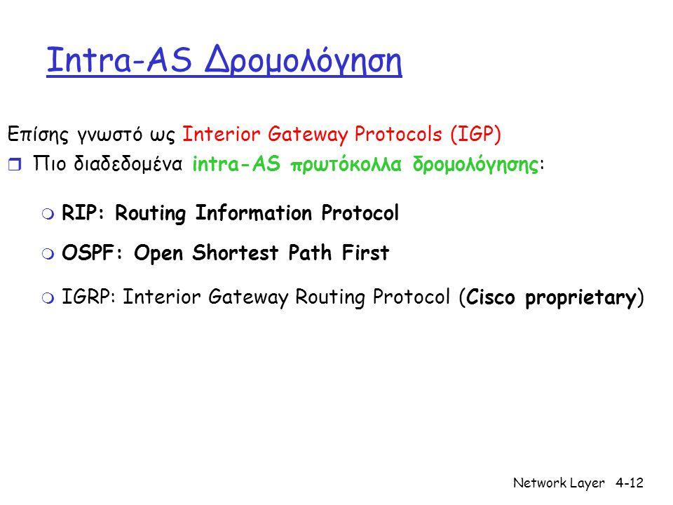 Network Layer4-12 Intra-AS Δρομολόγηση Επίσης γνωστό ως Interior Gateway Protocols (IGP) r Πιο διαδεδομένα intra-AS πρωτόκολλα δρομολόγησης: m RIP: Ro