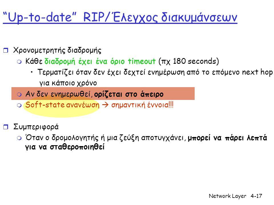 Network Layer4-17 Up-to-date RIP/Έλεγχος διακυμάνσεων r Χρονομετρητής διαδρομής m Κάθε διαδρομή έχει ένα όριο timeout (πχ 180 seconds) •Τερματίζει όταν δεν έχει δεχτεί ενημέρωση από το επόμενο next hop για κάποιο χρόνο m Αν δεν ενημερωθεί, ορίζεται στο άπειρο m Soft-state ανανέωση  σημαντική έννοια!!.