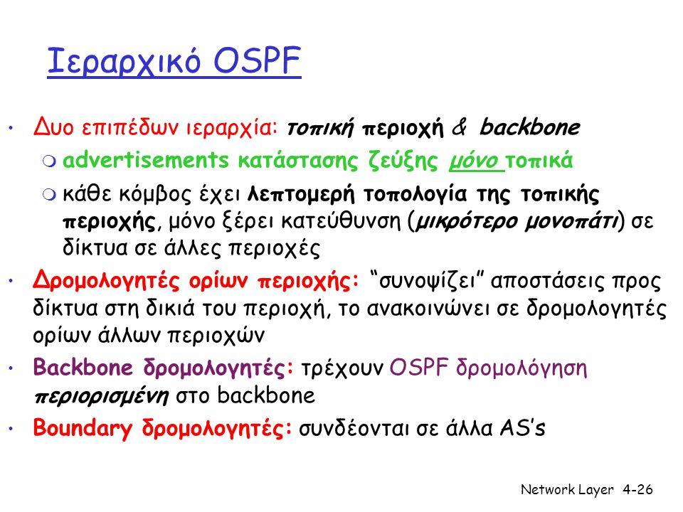 Network Layer4-26 Ιεραρχικό OSPF • Δυο επιπέδων ιεραρχία: τοπική περιοχή & backbone m advertisements κατάστασης ζεύξης μόνο τοπικά m κάθε κόμβος έχει