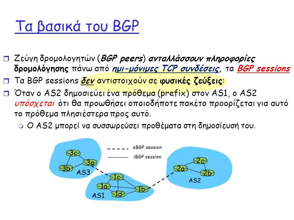 Τα βασικά του BGP r Ζεύγη δρομολογητών (BGP peers) ανταλλάσσουν πληροφορίες δρομολόγησης πάνω από ημι-μόνιμες TCP συνδέσεις, τα BGP sessions r Τα BGP sessions δεν αντιστοιχούν σε φυσικές ζεύξεις: r Όταν ο AS2 δημοσιεύει ένα πρόθεμα (prefix) στον AS1, o AS2 υπόσχεται ότι θα προωθήσει οποιοδήποτε πακέτο προορίζεται για αυτό το πρόθεμα πλησιέστερα προς αυτό.
