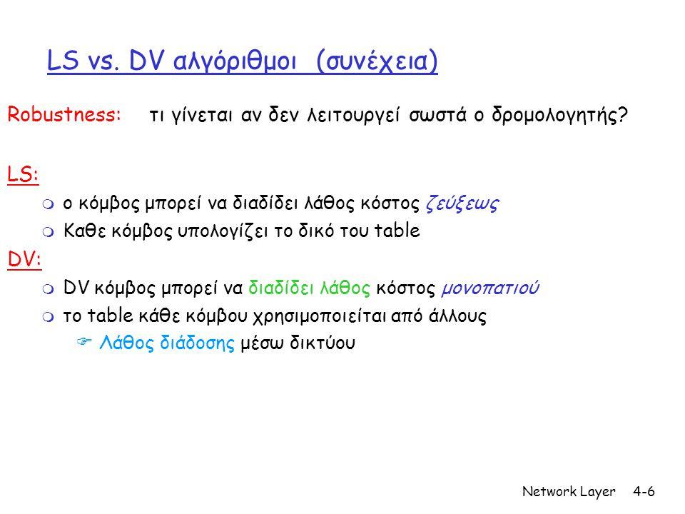 Network Layer4-6 LS vs. DV αλγόριθμοι (συνέχεια) Robustness: τι γίνεται αν δεν λειτουργεί σωστά ο δρομολογητής? LS: m ο κόμβος μπορεί να διαδίδει λάθο