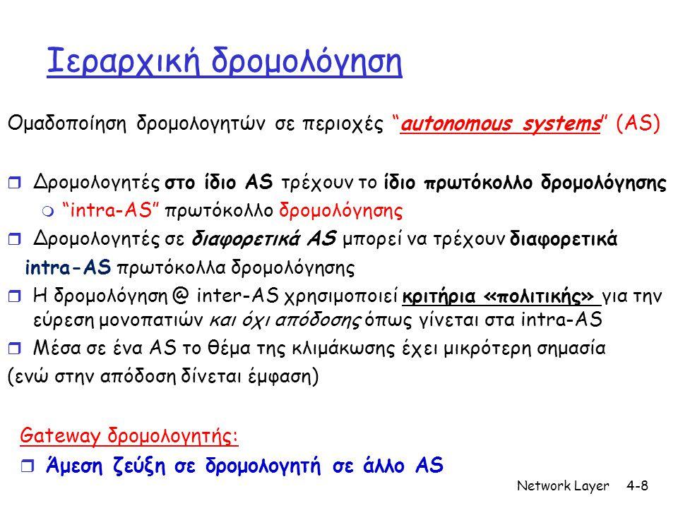 Network Layer4-8 Ιεραρχική δρομολόγηση Ομαδοποίηση δρομολογητών σε περιοχές autonomous systems (AS) r Δρομολογητές στο ίδιο AS τρέχουν το ίδιο πρωτόκολλο δρομολόγησης m intra-AS πρωτόκολλο δρομολόγησης r Δρομολογητές σε διαφορετικά AS μπορεί να τρέχουν διαφορετικά intra-AS πρωτόκολλα δρομολόγησης r Η δρομολόγηση @ inter-AS χρησιμοποιεί κριτήρια «πολιτικής» για την εύρεση μονοπατιών και όχι απόδοσης όπως γίνεται στα intra-AS r Μέσα σε ένα AS το θέμα της κλιμάκωσης έχει μικρότερη σημασία (ενώ στην απόδοση δίνεται έμφαση) Gateway δρομολογητής: r Άμεση ζεύξη σε δρομολογητή σε άλλο AS