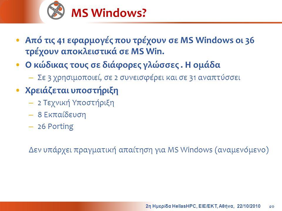 MS Windows? •Από τις 41 εφαρμογές που τρέχουν σε MS Windows οι 36 τρέχουν αποκλειστικά σε MS Win. •Ο κώδικας τους σε διάφορες γλώσσες. Η ομάδα – Σε 3