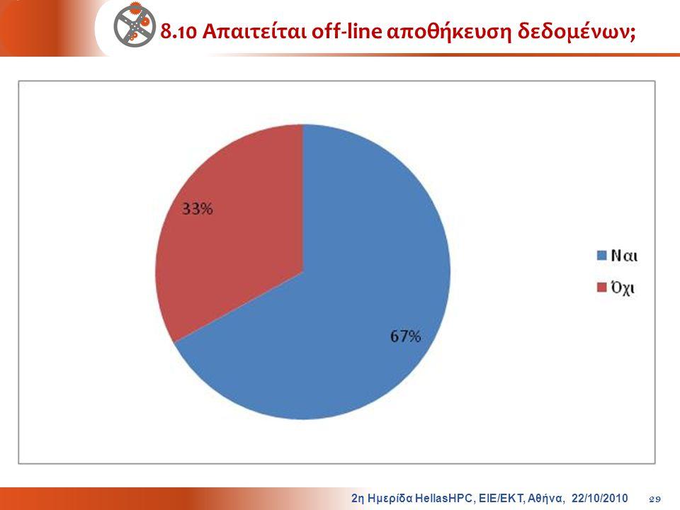 8.10 Απαιτείται off-line αποθήκευση δεδομένων; 2η Ημερίδα HellasHPC, ΕΙΕ/ΕΚΤ, Αθήνα, 22/10/2010 29