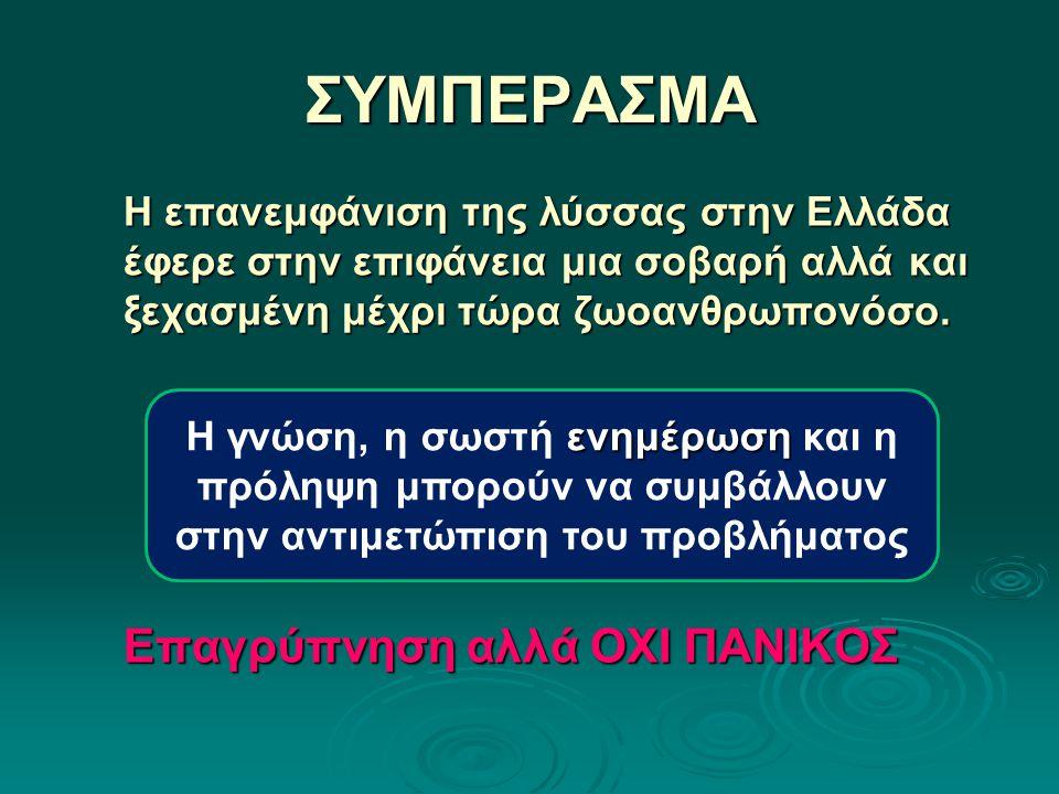 ΣΥΜΠΕΡΑΣΜΑ Η επανεμφάνιση της λύσσας στην Ελλάδα έφερε στην επιφάνεια μια σοβαρή αλλά και ξεχασμένη μέχρι τώρα ζωοανθρωπονόσο. Επαγρύπνηση αλλά ΟΧΙ ΠΑ