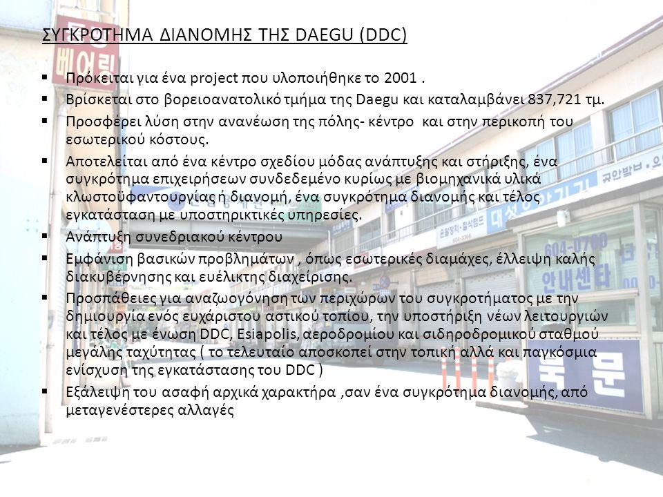 ΣΥΓΚΡΟΤΗΜΑ ΔΙΑΝΟΜΗΣ ΤΗΣ DAEGU (DDC)  Πρόκειται για ένα project που υλοποιήθηκε το 2001.