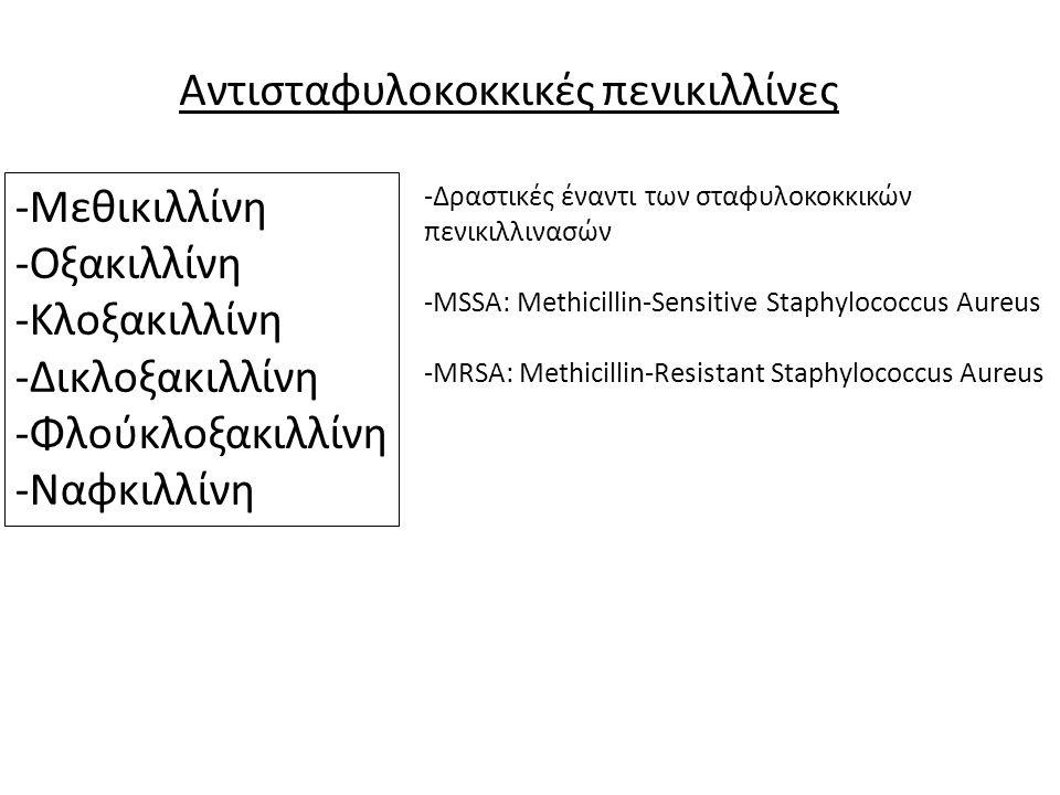 Αντισταφυλοκοκκικές πενικιλλίνες -Μεθικιλλίνη -Οξακιλλίνη -Κλοξακιλλίνη -Δικλοξακιλλίνη -Φλούκλοξακιλλίνη -Ναφκιλλίνη -Δραστικές έναντι των σταφυλοκοκ