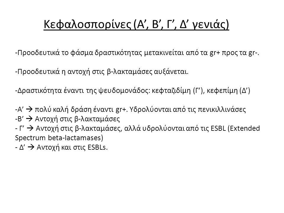Κεφαλοσπορίνες (Α', Β', Γ', Δ' γενιάς) -Προοδευτικά το φάσμα δραστικότητας μετακινείται από τα gr+ προς τα gr-. -Προοδευτικά η αντοχή στις β-λακταμάσε