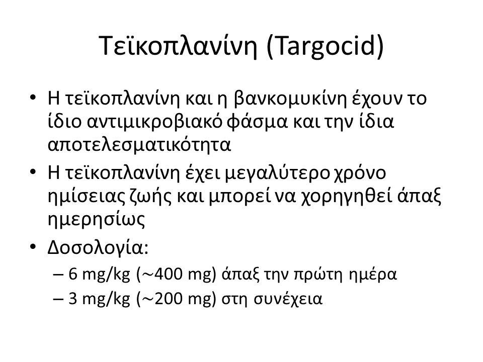 Τεϊκοπλανίνη (Targocid) • Η τεϊκοπλανίνη και η βανκομυκίνη έχουν το ίδιο αντιμικροβιακό φάσμα και την ίδια αποτελεσματικότητα • Η τεϊκοπλανίνη έχει με
