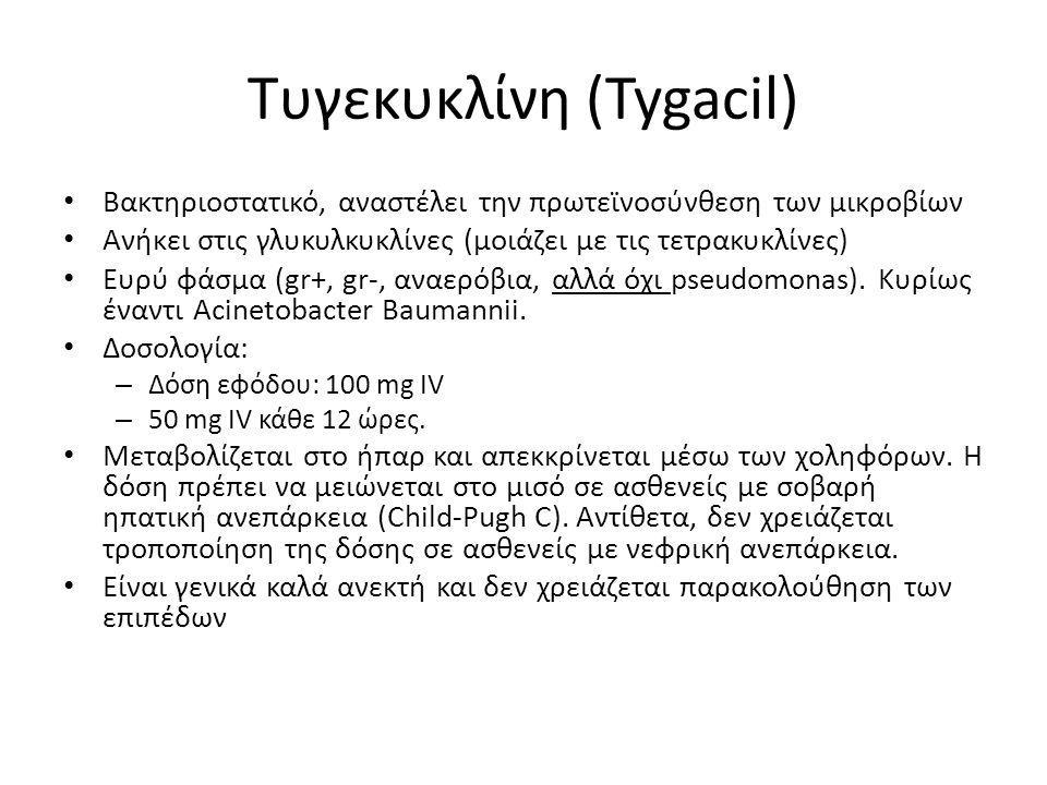 Τυγεκυκλίνη (Tygacil) • Βακτηριοστατικό, αναστέλει την πρωτεϊνοσύνθεση των μικροβίων • Ανήκει στις γλυκυλκυκλίνες (μοιάζει με τις τετρακυκλίνες) • Ευρ