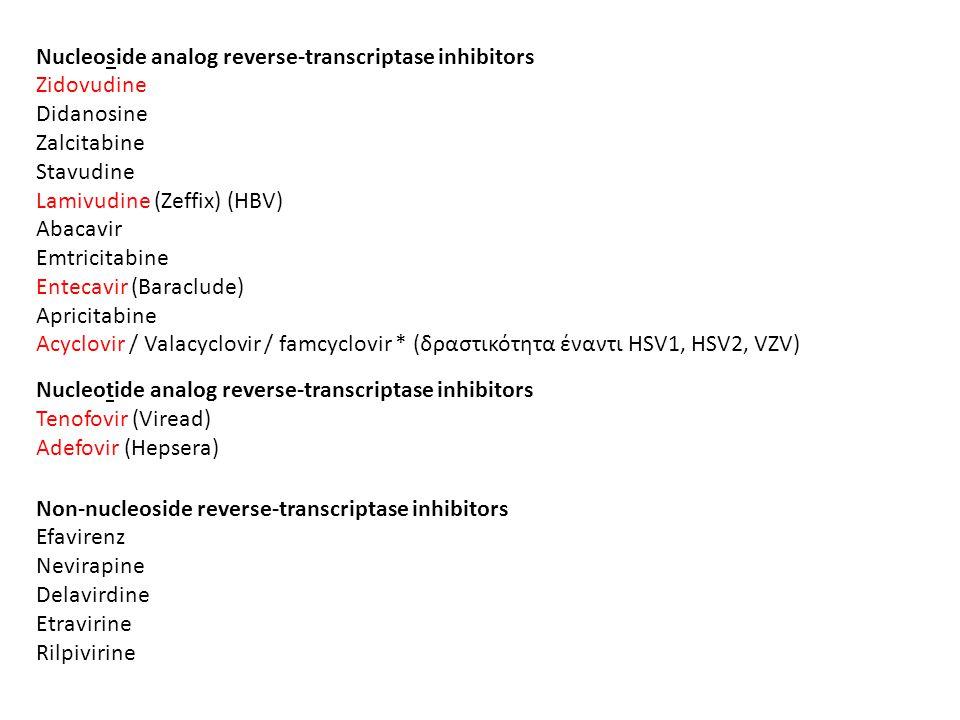 Nucleoside analog reverse-transcriptase inhibitors Zidovudine Didanosine Zalcitabine Stavudine Lamivudine (Zeffix) (HBV) Abacavir Emtricitabine Enteca