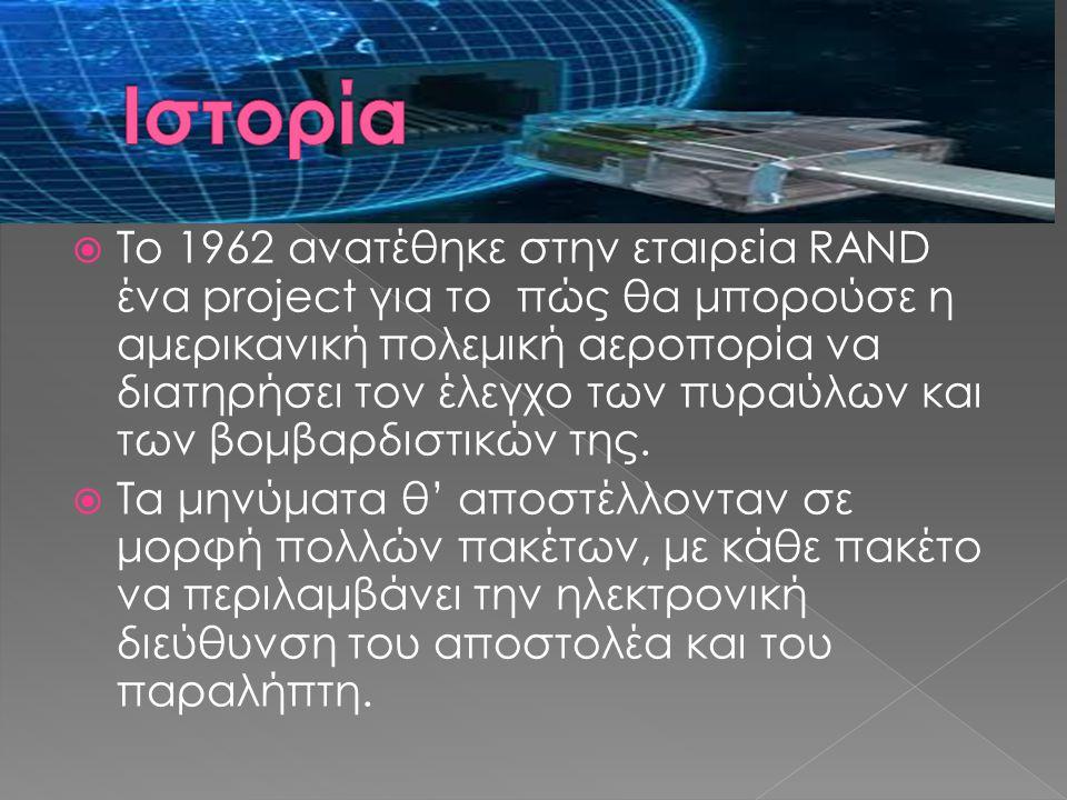  Το 1962 ανατέθηκε στην εταιρεία RAND ένα project για το πώς θα μπορούσε η αμερικανική πολεμική αεροπορία να διατηρήσει τον έλεγχο των πυραύλων και τ