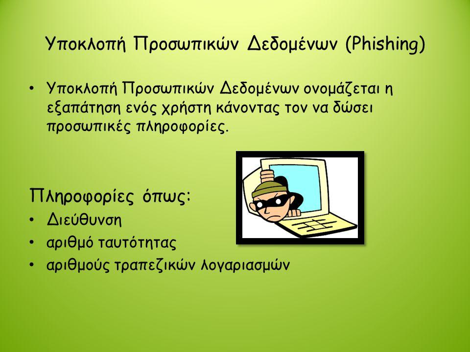 Υποκλοπή Προσωπικών Δεδομένων (Phishing) • Υποκλοπή Προσωπικών Δεδομένων ονομάζεται η εξαπάτηση ενός χρήστη κάνοντας τον να δώσει προσωπικές πληροφορί