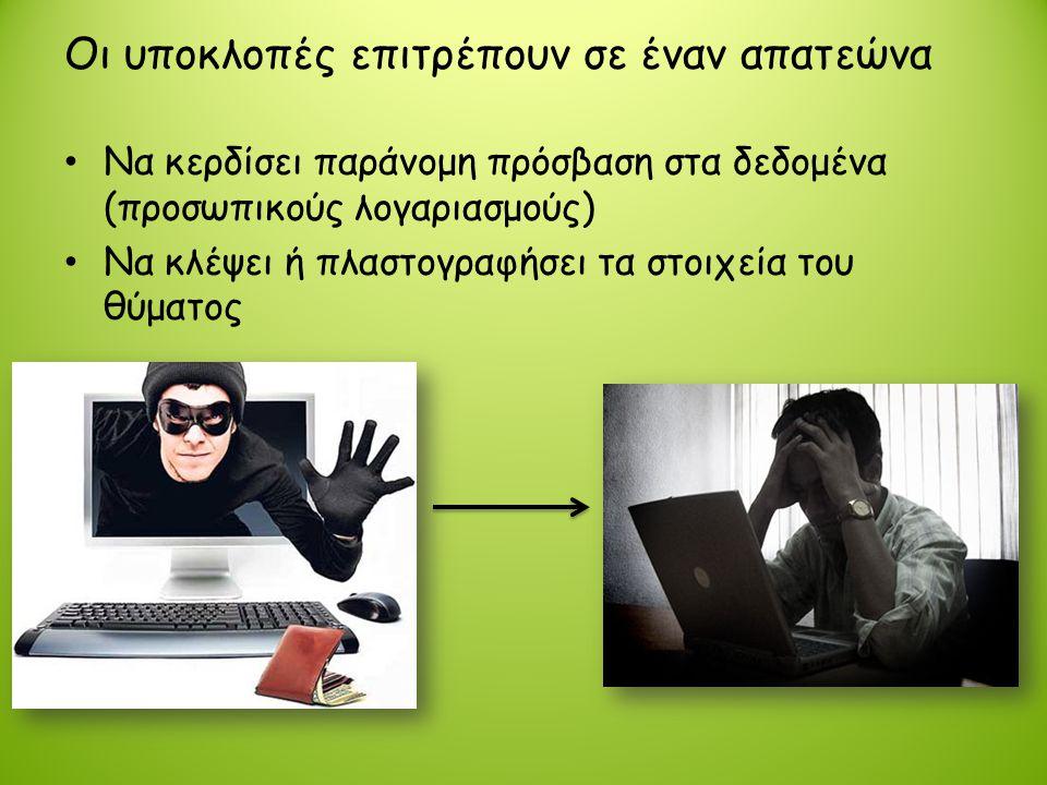 Οι υποκλοπές επιτρέπουν σε έναν απατεώνα • Να κερδίσει παράνομη πρόσβαση στα δεδομένα (προσωπικούς λογαριασμούς) • Να κλέψει ή πλαστογραφήσει τα στοιχ