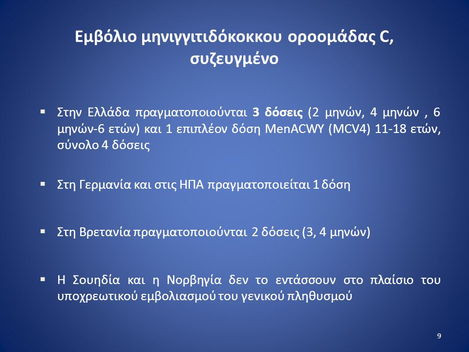 Εμβόλιο μηνιγγιτιδόκοκκου οροομάδας C, συζευγμένο  Στην Ελλάδα πραγματοποιούνται 3 δόσεις (2 μηνών, 4 μηνών, 6 μηνών-6 ετών) και 1 επιπλέον δόση MenA