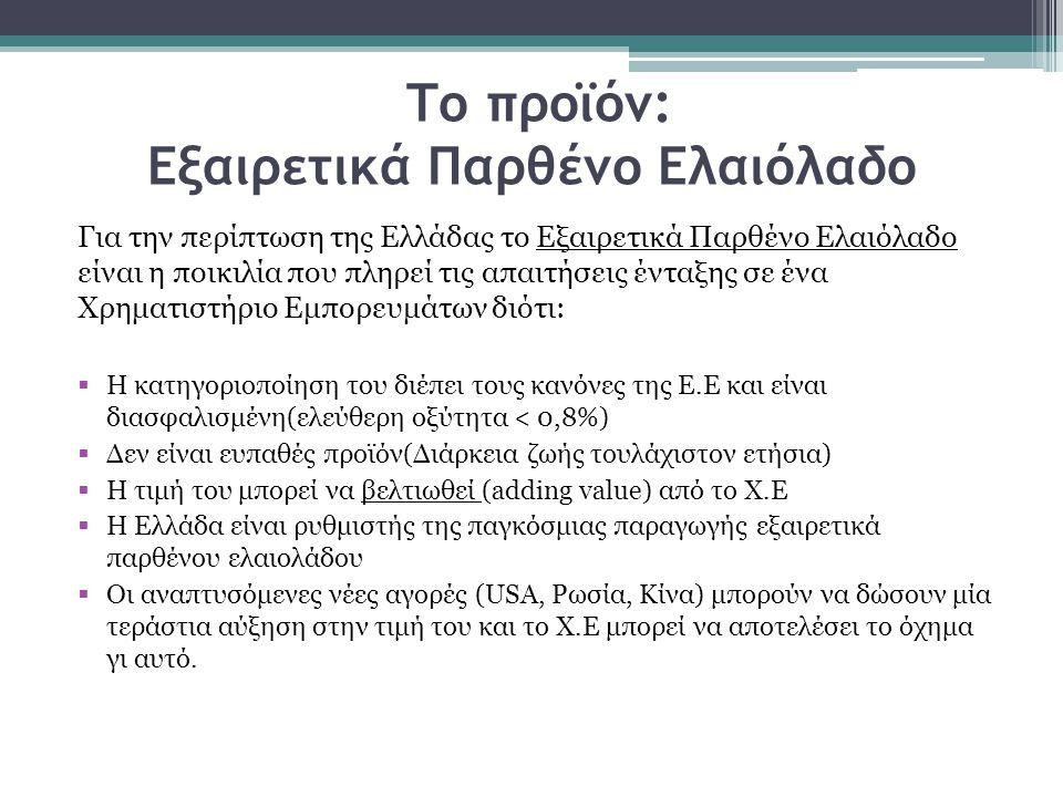 Το προϊόν: Εξαιρετικά Παρθένο Ελαιόλαδο Για την περίπτωση της Ελλάδας το Εξαιρετικά Παρθένο Ελαιόλαδο είναι η ποικιλία που πληρεί τις απαιτήσεις ένταξ