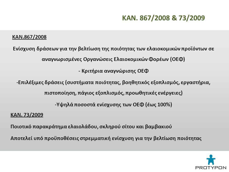 ΚΑΝ.867/2008 Ενίσχυση δράσεων για την βελτίωση της ποιότητας των ελαιοκομικών προϊόντων σε αναγνωρισμένες Οργανώσεις Ελαιοκομικών Φορέων (ΟΕΦ) - Κριτήρια αναγνώρισης ΟΕΦ -Επιλέξιμες δράσεις (συστήματα ποιότητας, βοηθητικός εξοπλισμός, εργαστήρια, πιστοποίηση, πάγιος εξοπλισμός, προωθητικές ενέργειες) - Υψηλά ποσοστά ενίσχυσης των ΟΕΦ (έως 100%) ΚΑΝ.